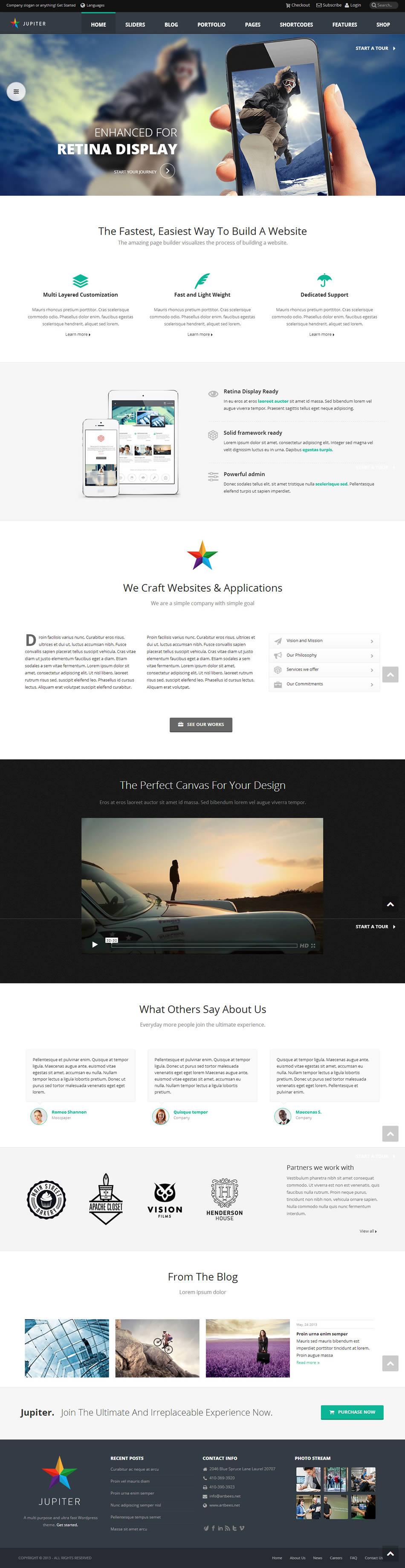 jupiter wordpress theme screenshot